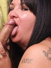 Fat cute brunette milks the sack...